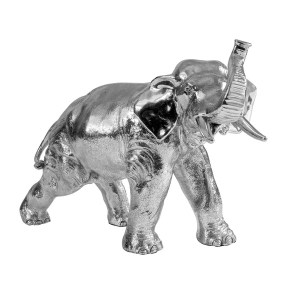 large silver elephant trunk up