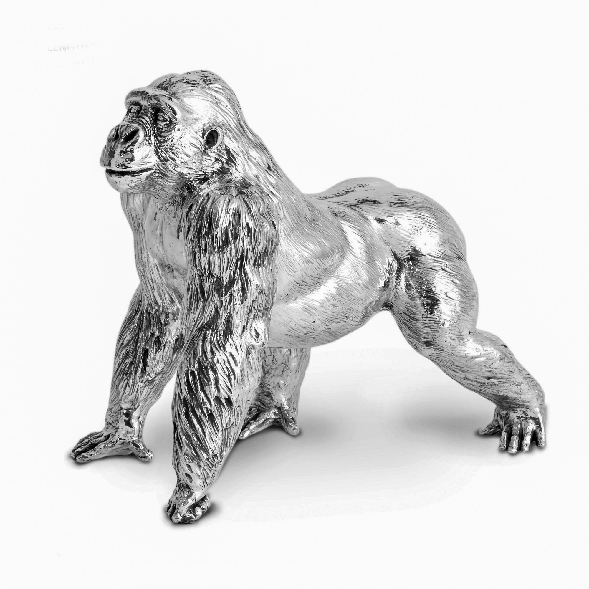 Sterling Silver Gorilla - Height 25.5cm-Silverbasket