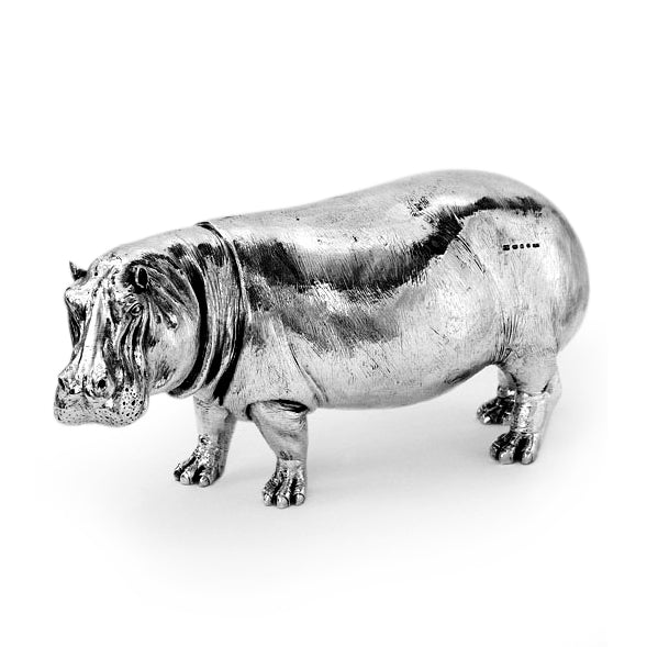 Silver Hippo - Height 12.75cm-Silverbasket