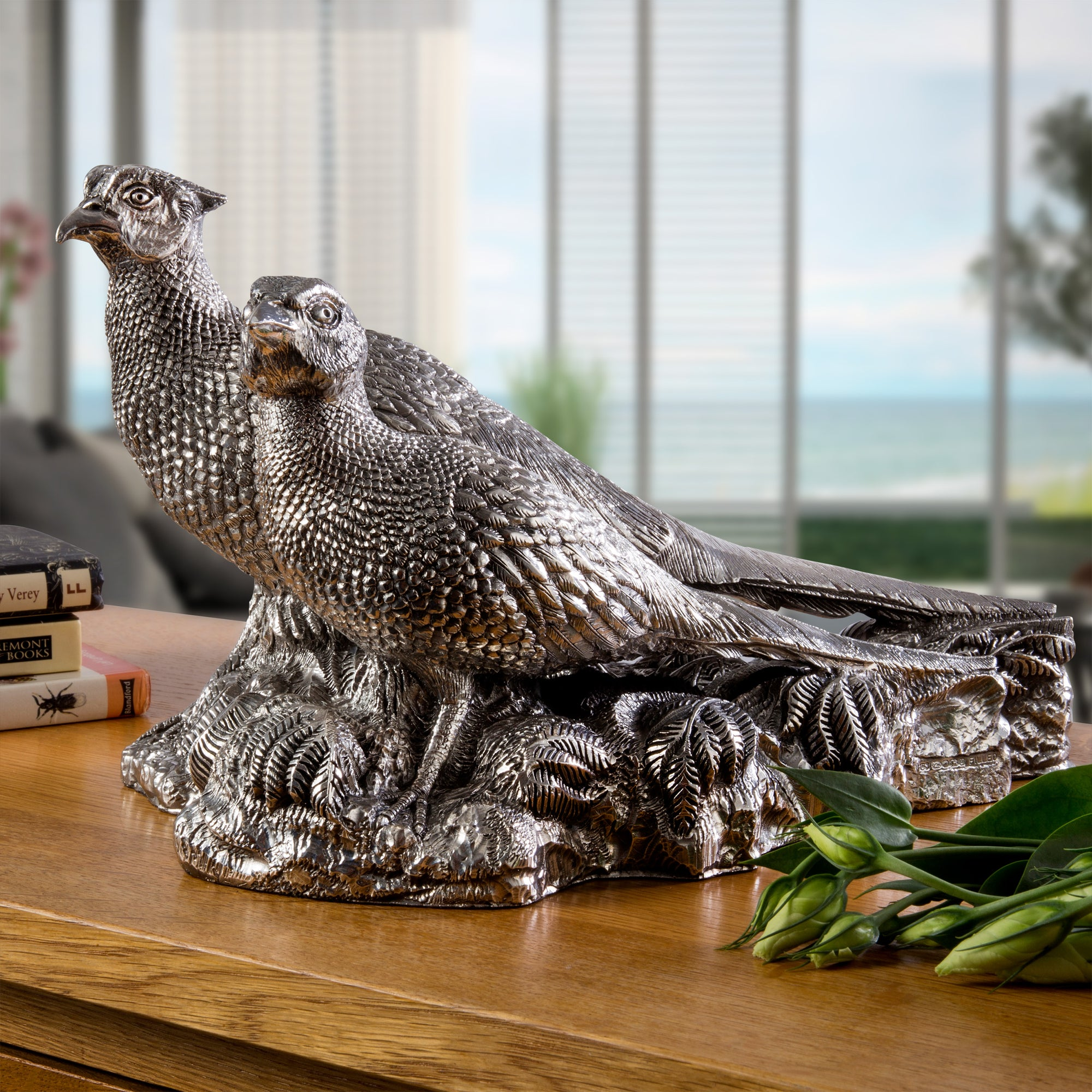Pair of Silver Pheasants - Height 42cm