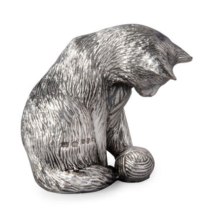 Silver Cat playing - Height 6cm