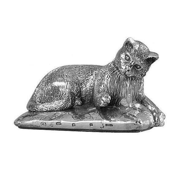Silver Cat - Height 3.4cm-Silverbasket-Silverbasket