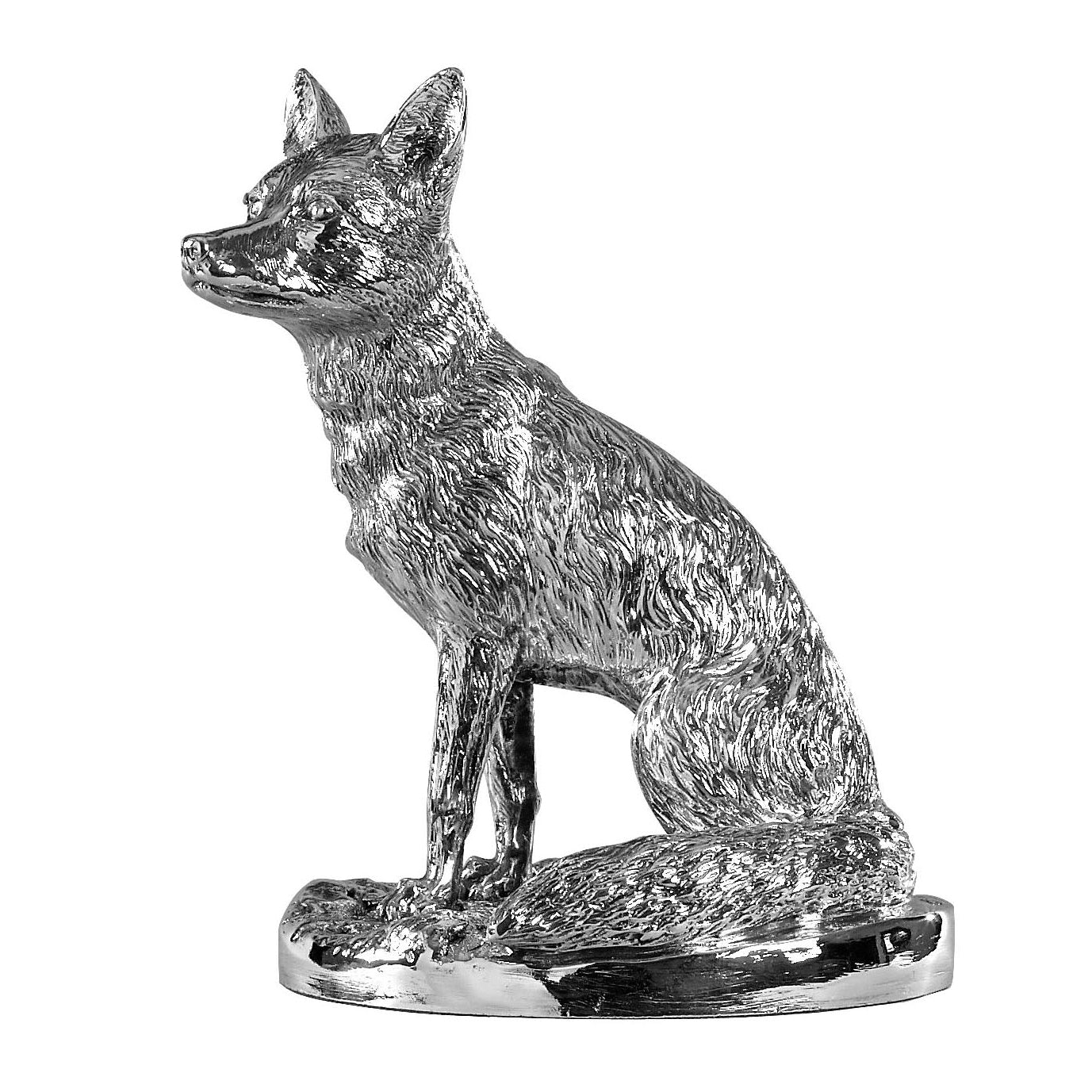 Silver Sitting Fox – Height 20cm-Silverbasket