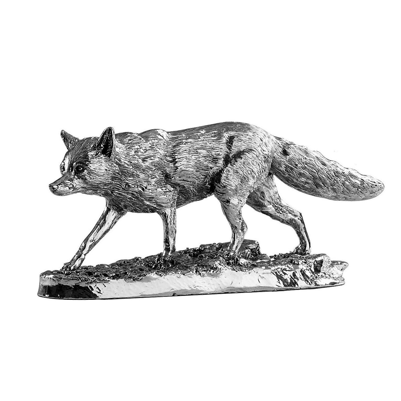 Silver Prowling Fox - Height 17.5cm-Silverbasket