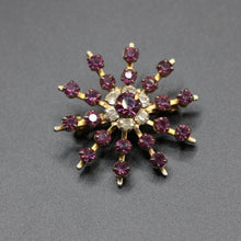 Load image into Gallery viewer, Vintage c 1950s purple and clear stone starburst brooch