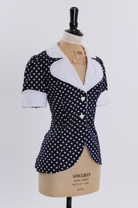 Vintage 1970s original Louis Caring blue and white polka dot print blouse UK 8 10 US 4 6 S