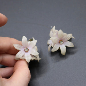 Vintage 1950s original lightweight flower pyramid clip earrings rhinestone centres