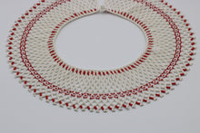 Load image into Gallery viewer, Vintage c 1970s statement beaded bib collar necklace red and white