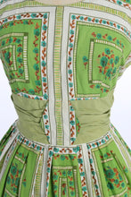 Load image into Gallery viewer, Vintage 1950s original green floral print cotton dress UK 12 US 8 M