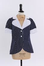 Load image into Gallery viewer, Vintage 1970s original Louis Caring blue and white polka dot print blouse UK 8 10 US 4 6 S