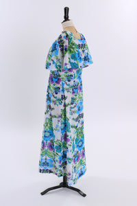 Vintage 1970s original floral print maxi dress with flutter sleeves UK 8 10 US 4 6 S