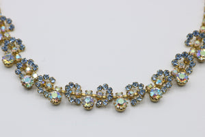 Vintage 1950s original blue and clear rhinestone diamante flower necklace