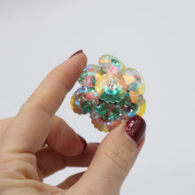 Load image into Gallery viewer, Amazing vintage 1950s sparkling aurora borealis multi flower brooch