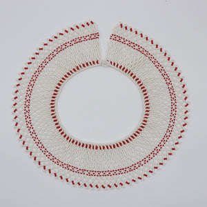 Vintage c 1970s statement beaded bib collar necklace red and white