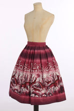 Load image into Gallery viewer, Vintage 1950s original novelty deer print cotton border scenic skirt UK 8 US 4 XS S