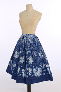 Vintage 1950s original novelty blue floral border print cotton skirt UK 8 US 4 XS S