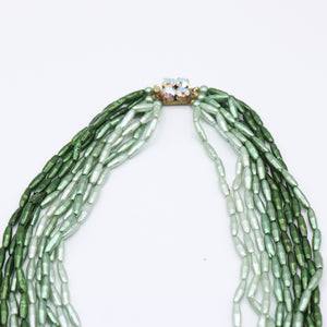 Vintage c 1950s 9 strand beaded necklace in shades of green