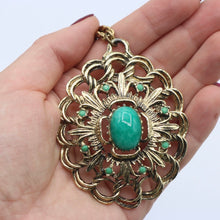 Load image into Gallery viewer, Vintage 1960s 1970s HUGE green goldtone drop pendant by Hollywood
