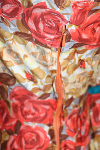 Vintage 1950s original rose print cotton dress UK 8 10 US 4 6 S