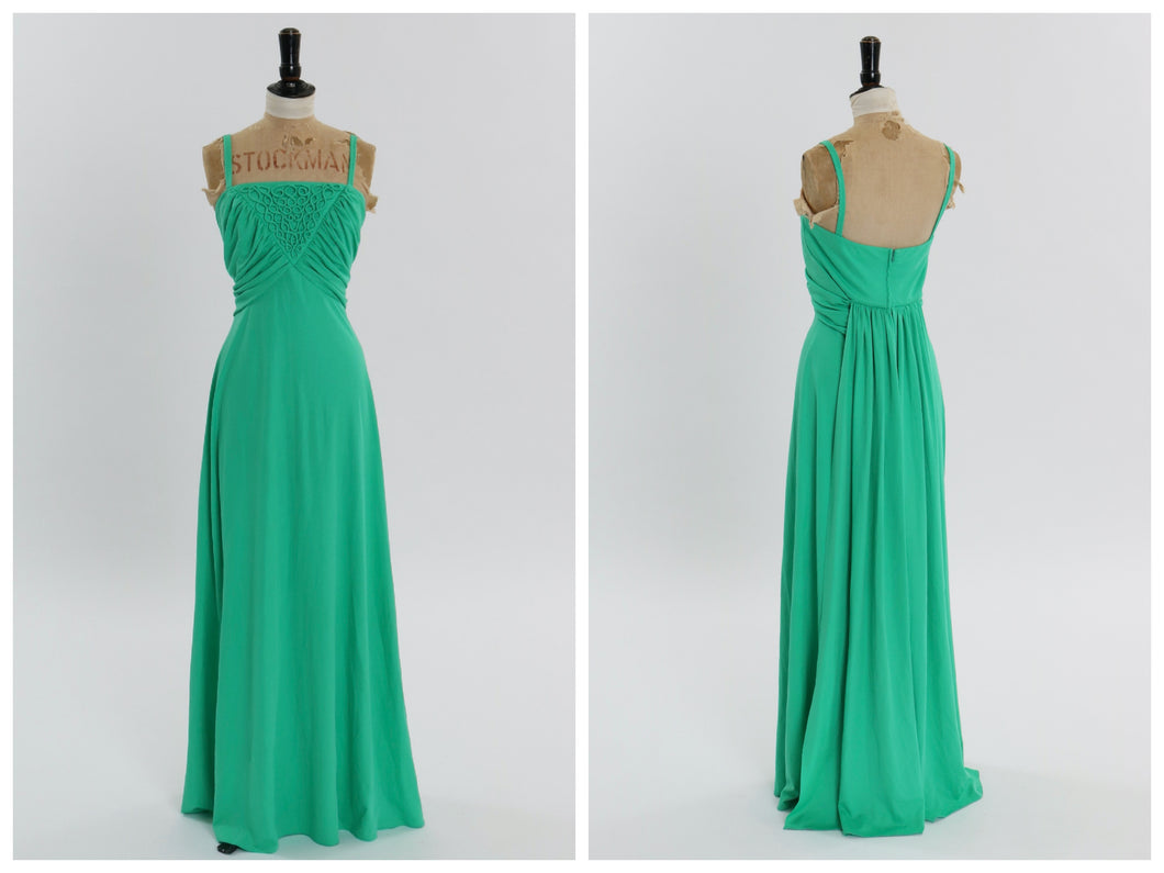 Vintage 1970s original Carnegie green maxi dress UK 10 12 US 6 8 S M