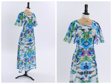 Load image into Gallery viewer, Vintage 1970s original floral print maxi dress with flutter sleeves UK 8 10 US 4 6 S