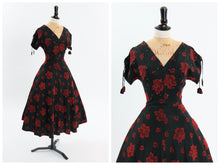 Load image into Gallery viewer, Vintage 1950s original black and red taffeta cocktail dress with rhinestone accents UK 8 US 4 S