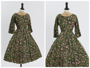 Vintage 1950s original floral print cotton dress by Melbray UK 6 US 2 XS