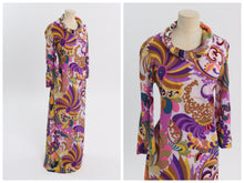 Load image into Gallery viewer, Vintage 1970s original Emilia Bellini Firenze novelty signature print stretch maxi dress S M