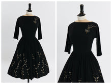 Load image into Gallery viewer, Vintage 1950s original black wool dress with hand painted floral design UK 6 US 2 XS