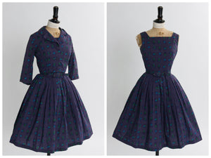 Vintage 1950s original Betty Barclay novelty print cotton dress UK 6 US 2 XS