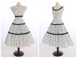 Vintage 1950s original Linzi Line novelty four leaf clover print cotton dress and matching bolero UK 8 10 US 4 6 S
