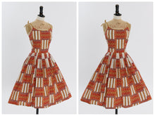 Load image into Gallery viewer, Vintage 1950s original novelty print cotton dress by Dyanne Dallas UK 6 US 2 XS