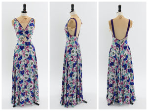 Vintage 1930s 1940s floral length dress with cut out midriff UK 8 10 US 4 6 S