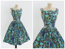 Load image into Gallery viewer, Vintage 1950s original blue floral print cotton dress UK 6 8 US 2 4 XS S