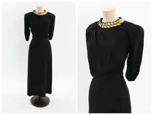 Vintage 1940s original black dress with gold metal leaf decoration UK 10 12 14 US 6 8 10 S M