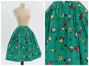 Vintage 1950s original bright green floral print cotton skirt UK 6 US 2 XS