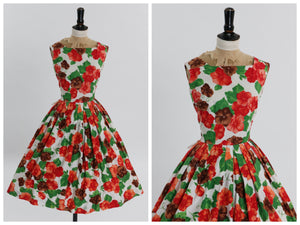 Vintage 1950s original bold red brown and green floral print cotton dress by Duprez UK 8 10 US 4 6 S