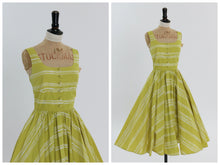 Load image into Gallery viewer, Vintage 1950s style chartreuse and white stripe cotton dress UK 8 10 US 4 6 S