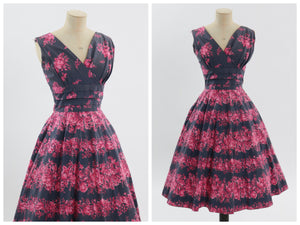 Vintage 1950s original pink and grey floral print cotton dress UK 8 10 US 4 6 S