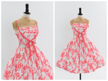 Load image into Gallery viewer, Vintage 1950s original pink novelty floral print Horrockses Fashions dress UK 6 US 2 XS