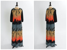 Load image into Gallery viewer, Vintage 1970s original Miss Jeannie novelty print jersey maxi dress S M