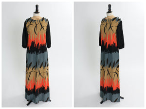 Vintage 1970s original Miss Jeannie novelty print jersey maxi dress S M
