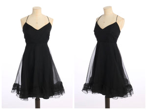 Vintage 1970s original Jean Varon black chiffon babydoll mini dress UK 8 US 4 XS S