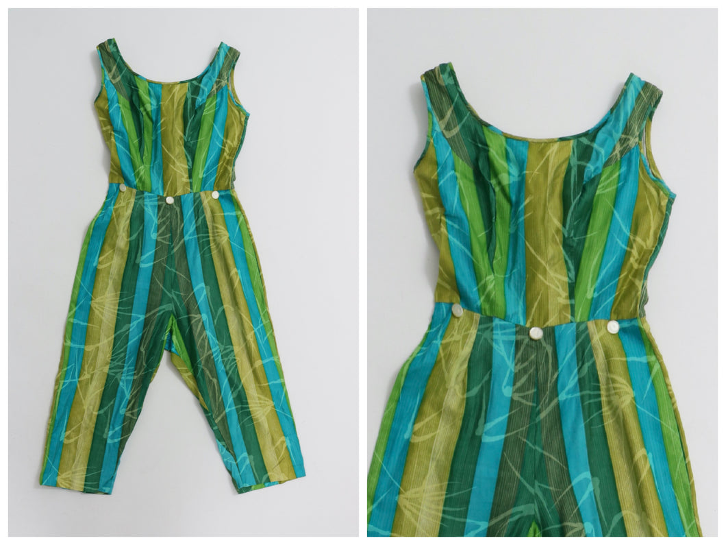 Vintage 1950s original blue and green novelty stripe jumpsuit UK 6 US 2 XS