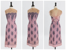 Load image into Gallery viewer, Vintage 1950s 1960s original pink and purple lace wiggle dress by Atrima UK 14 16 US 10 12 M L