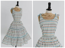 Load image into Gallery viewer, Vintage 1950s original novelty person print cotton dress by Basila UK 8 10 US 4 6 S