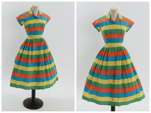 Load image into Gallery viewer, Vintage 1950s original Berketex Continentals vibrant stripe cotton dress uK 8 US 4 S
