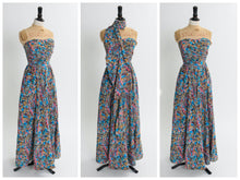 Load image into Gallery viewer, Vintage 1950s original full length novelty print dress by Baker Sportswear UK 6 US 2 XS