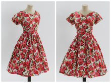 Load image into Gallery viewer, Vintage 1950s original Peggy Page floral rose print cotton dress UK 10 12 US 6 8 S M