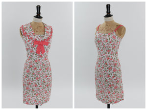 Vintage 1950s 1960s original 2 piece dress set floral print UK 6 US 2 XS